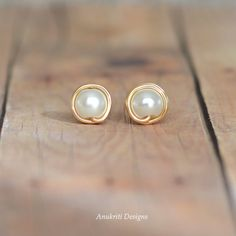 Pearl Stud earrings  Boho Stud earrings  by AnukritiDesigns