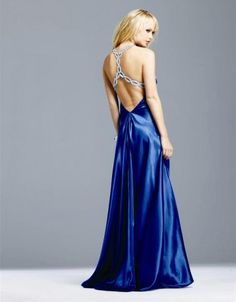 (FITS038302 )2011 Style A-line Halter Beading Sleeveless Floor-length Elastic Woven Satin Royal Blue Prom Dress / Evening Dress