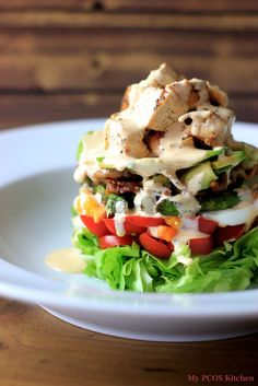 A delightful dairy-free Paleo Cobb Salad with a Buffalo Ranch Dressing. This is the perfect low carb salad for lunch or dinner! Dairy Free Salads, Healthy Gluten Free Recipes, Healthy Salad Recipes, Low Carb Recipes, Ketogenic Recipes, Paleo Treats, Ketogenic Diet, Healthy Foods, Healthy Life
