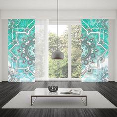 Boho Chic Window CurtainWindow TreatmentRod Pocket CurtainBlue Bohemian Curtain