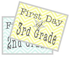 Free printable signs for the first day of school! Complete set (preschool through 12th grade) Have kids hold them for pictures - super cute!