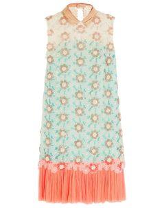 Robe romantique chic en soie Delpozo style charleston sans manche avec imprimé fleur