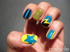 Custom nails for roller derby team The Mad Dollies from Greensboro, NC.