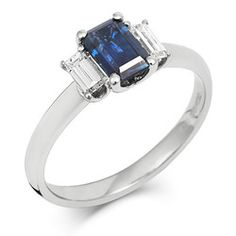 CRED Jewellery - Sapphire Emerald Cut Trilogy ring