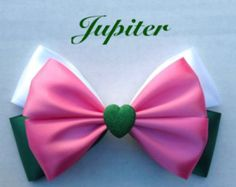 Up for your consideration is a custom made Jupiter hair bow. The bow measures 5 inches wide and 3 inches tall. I will attach whichever clip you Sailor Moon Hair, Sailor Moon Wedding, Handmade Hair Bows, Diy Hair Bows, Hair Bow Tutorial, Flower Tutorial, Sailor Moon Crafts, Disney Bows, Making Hair Bows