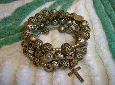 Vintage 1940s Beaded Roses Rosary Bracelet Religious Sterling Silver Holy Metal Cross