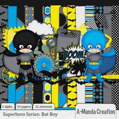 Bat Boy DIgital Scrapbooking kit includes 1 by AmandaCreation, $4.00