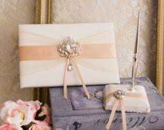 Rose Gold Wedding Guest Book Pen Pen Holder Crystal Wedding