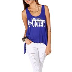 Royal Blue Lil' Bit Country Tank Top by None, via Polyvore
