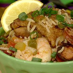 Michael Symon's Jambalaya ---this was delicious...my husband is a cajun food snob and he loved this...only thing I would change next time, I would use about a pound of shrimp and a pound of sausage and leave out the chicken thighs...the thighs were good when freshly made but did not reheat well later.