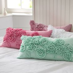 "These beautiful ""Ruffle and Rose Lumbar pilow covers"" from #PBteen add a super fancy element to my bedroom. Fantastic"