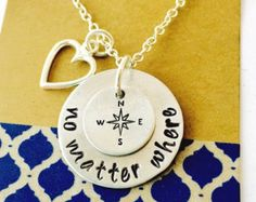 No Matter Where Necklace Hand Stamped Sisters by UniquelyImprint