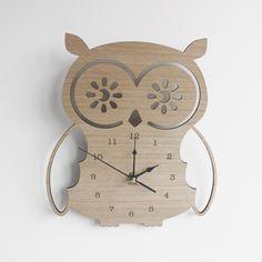Hoot Wooden Clock