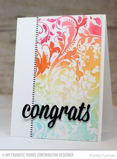 Handmade congratulations card from Karolyn London featuring the Garden Flourish Background.