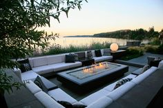 This ocean side terrace renovation in the Cordova Bay area was completed in The stylish sunken fire table lounge replaces a d. Outdoor Fire, Outdoor Lounge, Outdoor Areas, Outdoor Rooms, Outdoor Living, Backyard Patio Designs, Modern Backyard, Backyard Landscaping, Rooftop Terrace Design