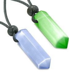 Yin Yang Best Friends or Love Couples Lucky Crystal Points Neon Green Purple Cats Eye Amulet Necklaces