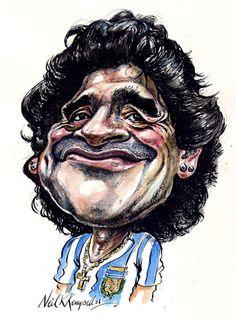 Caricatura de Maradona