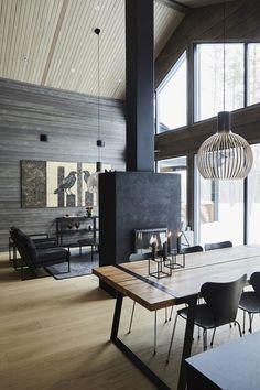 Inspiration for a modern log house – Honka – rustic home interior Log Home Interiors, Interior Design, House Interior, Modern Cabin Interior, Rustic Home Interiors, Home Remodeling, Modern Cabin, Home, Log Home Interior