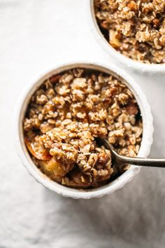 Five Minute Single Serving Apple Crisp - topped with a YUMMY healthy coconut oil, pecan, and oat crumble. (brown sugar syrup coconut oil)