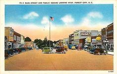 Forest City North Carolina NC 1940s Town Main St Public Square Theater Postcard