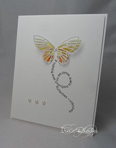 handmade card: Color blocking Flight by DandI93 ... clean and simple ... like the stamped message in a looped flight trail ... luv Daniel's butterfly treatment ... inside pieces of Memory Box butterfly colored in ombré pattern ... lacy outline popped over them so it can lay flat for mailing ... great card!!