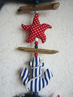 XXL GIRLANDE maritim Fisch,Seepferdchen,Anker,Boje - Meer,Urlaub,Tilda,See Sewing Projects, Projects To Try, Baby Deco, Baby Bibs, Rustic Wedding, Diy Crafts, Crafty, Quilts, Christmas Ornaments
