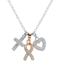 Diamore Diamond Accent Sterling Silver & 14k Rose Gold Over Silver... ($61) ❤ liked on Polyvore featuring jewelry, pendants, white, cross pendant, sterling silver heart charm, sterling silver cross pendant, pendants & necklaces and sterling silver necklace pendant