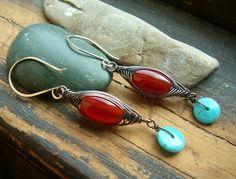 Red Damselfly Dragonfly Inspired earrings by kmaylward on Etsy, $26.00