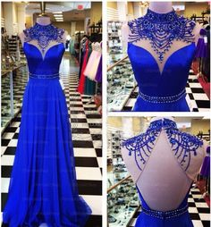 Royal Blue Prom Dresses Backless Prom Dress Unique Prom Dresses Sexy Prom…