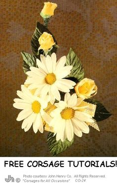 White Daisy Corsage Ideas - This site has galleries filled with flower pics, sells DIY floral supplies and features free step by step flower arranging tutorials.