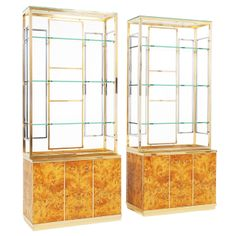 set of 2 mappa burlwood cabinets with chrome and brass upper part | 1stdibs.com