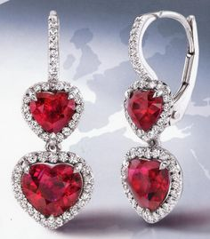 Omi Prive ruby heart drop earrings just in time for Valentine's Day! Ruby Jewelry, I Love Jewelry, Heart Jewelry, Fine Jewelry, Jewelry Design, Jewellery, Jewelry Rings, Jewelry Box, Diamond Drop Earrings