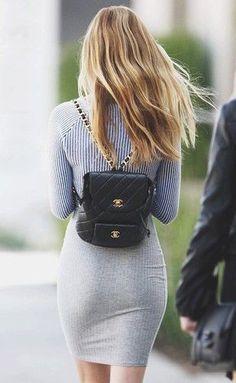 #summer #fashion / gray knit dress