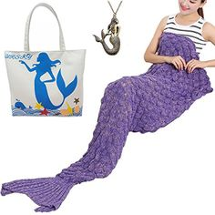"""URSKY Crochet Knitted Sofa Living Room Mermaid Tail Blanket, Cozy and Soft All Season Mermaid Tail Pattern Throw Sleeping Bag For Adult, Teens and Child ,71""""x35.5""""Scale Purple New - $26.39"""
