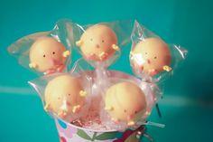 Yellow chick cake pops.