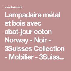 Lampadaire métal et bois avec abat-jour coton Norway - Noir - 3Suisses Collection - Mobilier - 3Suisses