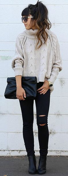 chunky sweater + skinny jeans