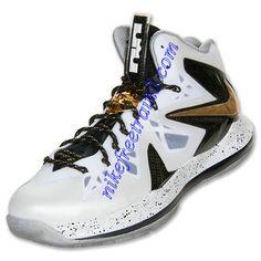 brand new e1f30 40080 off Cheap Lebron Shoes,Nike Lebron X PS Elite Mens White Metallic Gold Black  579834 100