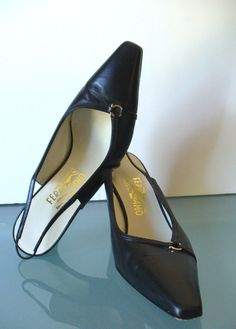 Made in Italy Salvatore Ferragamo Black Slingback Pumps  Size 9 B US by EurotrashItaly on Etsy