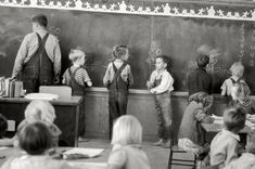 "February 1942. ""Third grade classroom, Farm Security Administration camp at Weslaco, Texas."" by Arthur Rothstein."