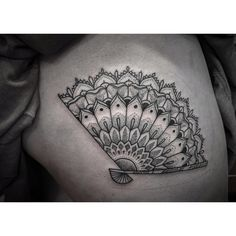 Image result for black and white japanese hand fan tattoo
