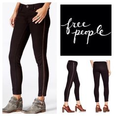 """Free People Levon Zip Detail Skinny Jeans.  NWT. Free People Washed Black Levon Zip Detail Jeans, 98% cotton, 2% spandex, machine washable, 30.5"""" waist, 7.5"""" front rise, 13"""" back rise, 27"""" inseam, 9"""" leg opening all around, copper tone hardware, low rise, tonal stitching, full functional zipper at side, five pockets, belt loops, zip fly button front closure, measurements are approx.  Please note black line drawn through Free People label to prevent recipients to store.  New without tag…"""