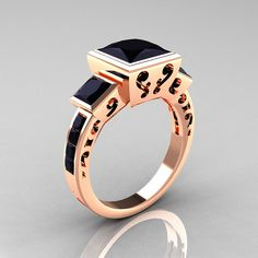 14K Rose Gold 25 Carat Square Three by artmasters.