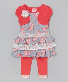 Nannette Girl Orange Rose Tiered Shrug Tunic & Leggings - Toddler & Girls | zulily