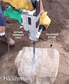"""Drilling a Stone: Just about any stone is """"drillable,"""" with only a few exceptions (petrified wood being one). You'll need to rent a rotary hammer drill and a 1-in.-diameter masonry bit long enough to drill through the stone you choose.(Click to see the rest.)"""