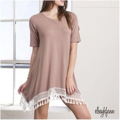 """15% OFF  U S A ✭ made SALE ! Make $29 offer ✓ Mocha Tassel Lace Trim Dress by April Spirit  • beautiful boho chic • wonderful design and quality • perfect for spring through fall • essential and versatile   95% Polyester 5% Rayon Made in USA   no trades ∣ price firm ∣ brand new with tags   Ready to purchase? Click """"Buy Now"""" and select size on the pop-up menu April Spirit Dresses"""