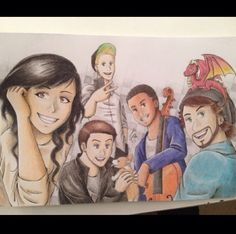 Amazing Pentatonix drawing!!!!!!! Lovin Avi with the dragon.