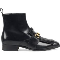 Gucci Leather Fringe Horsebit Boot (5.625 DKK) ❤ liked on Polyvore featuring men's fashion, men's shoes, men's boots, boots, men, shoes, mens black loafers shoes, mens black loafers, mens black leather boots and mens loafers