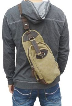 Amazon.com: Otium 21105 Men's Canvas Genuine Leather Cross Body Chest Pack,Khaki: Clothing