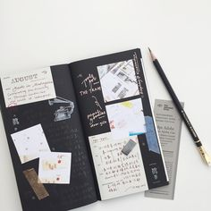 """1,041 Likes, 20 Comments - PC ✄ (@pooi_chin) on Instagram: """"Journal before and after. ✄ This time write with @blackwing pencil on black pages. The effect is…"""""""